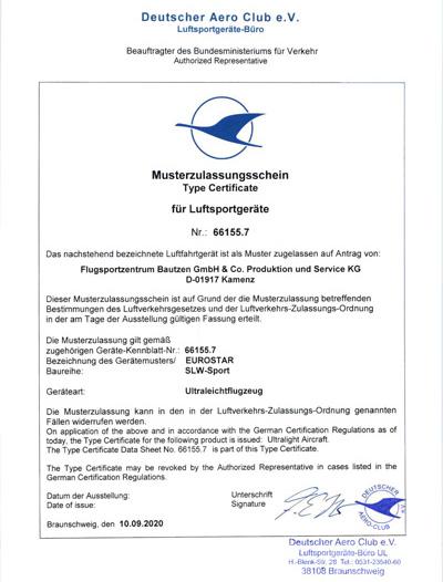 Eurostar SLW-Sport Musterzulassung